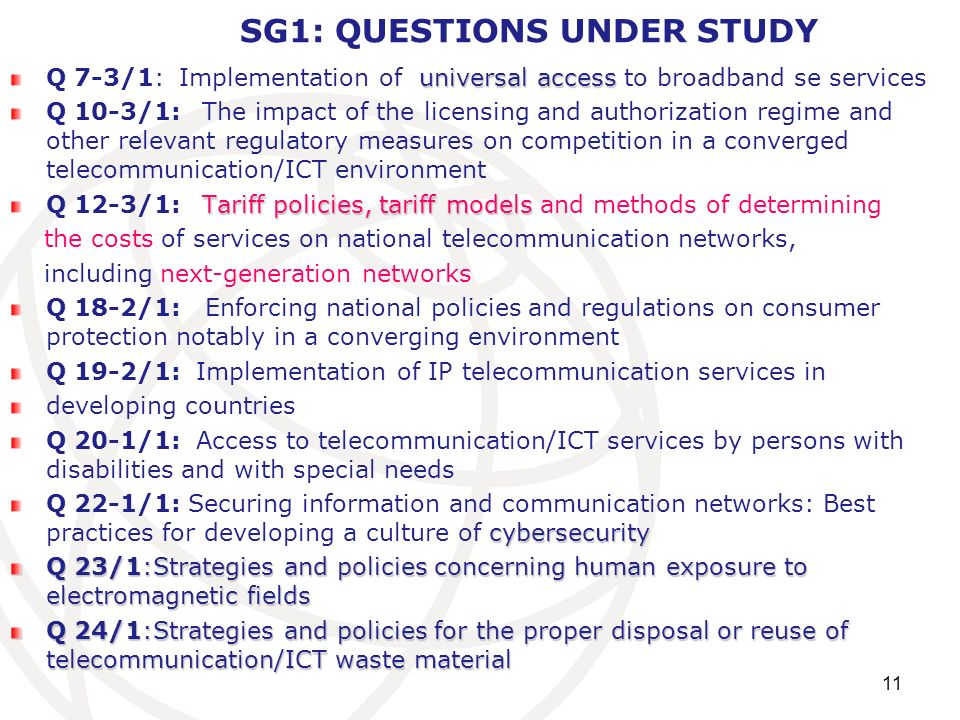 SG1: QUESTIONS UNDER STUDY