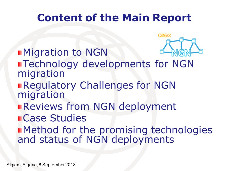Content of the Main Report