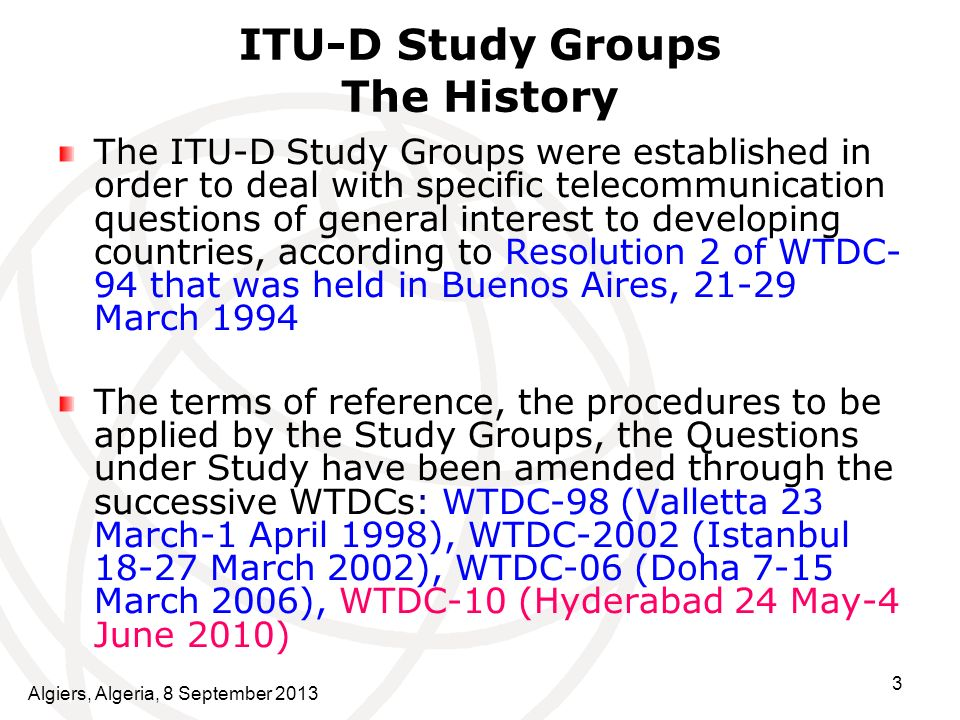 ITU-D Study Groups The History