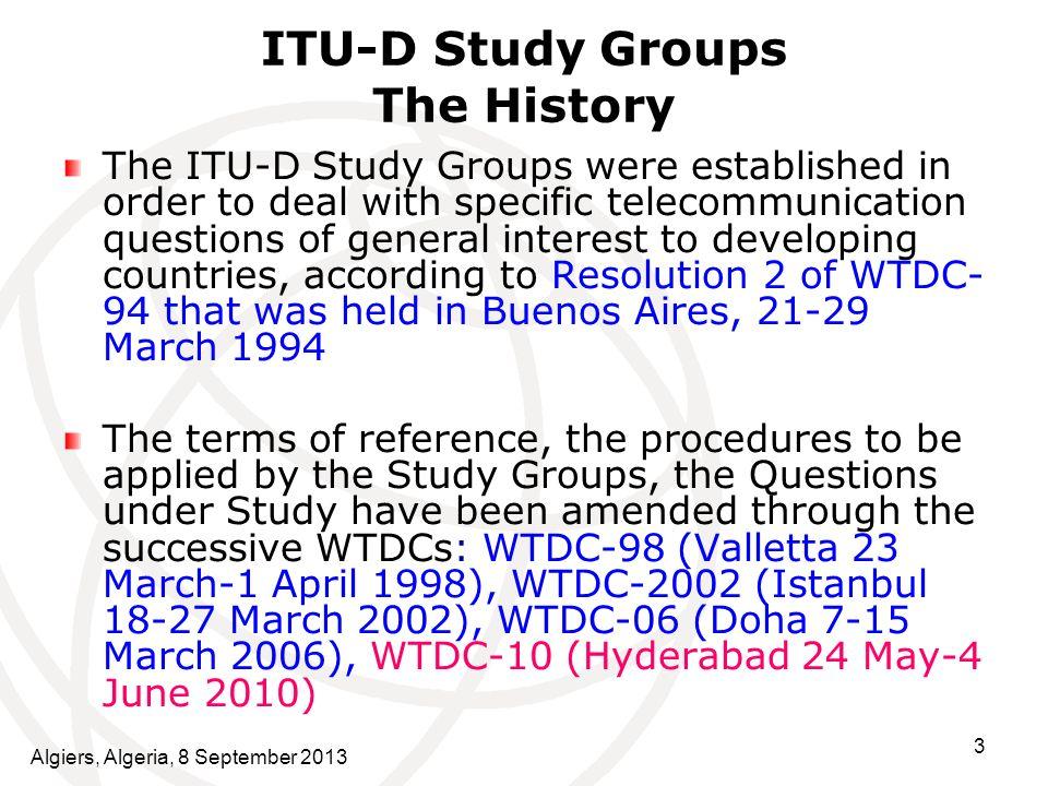 ITU-D Study Groups The History