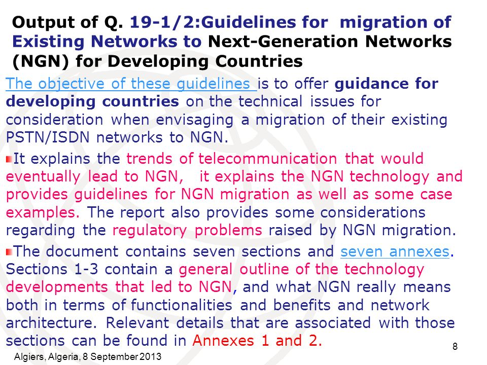 Output of Q. 19-1/2:Guidelines for migration of Existing Networks to Next-Generation Networks (NGN) for Developing Countries