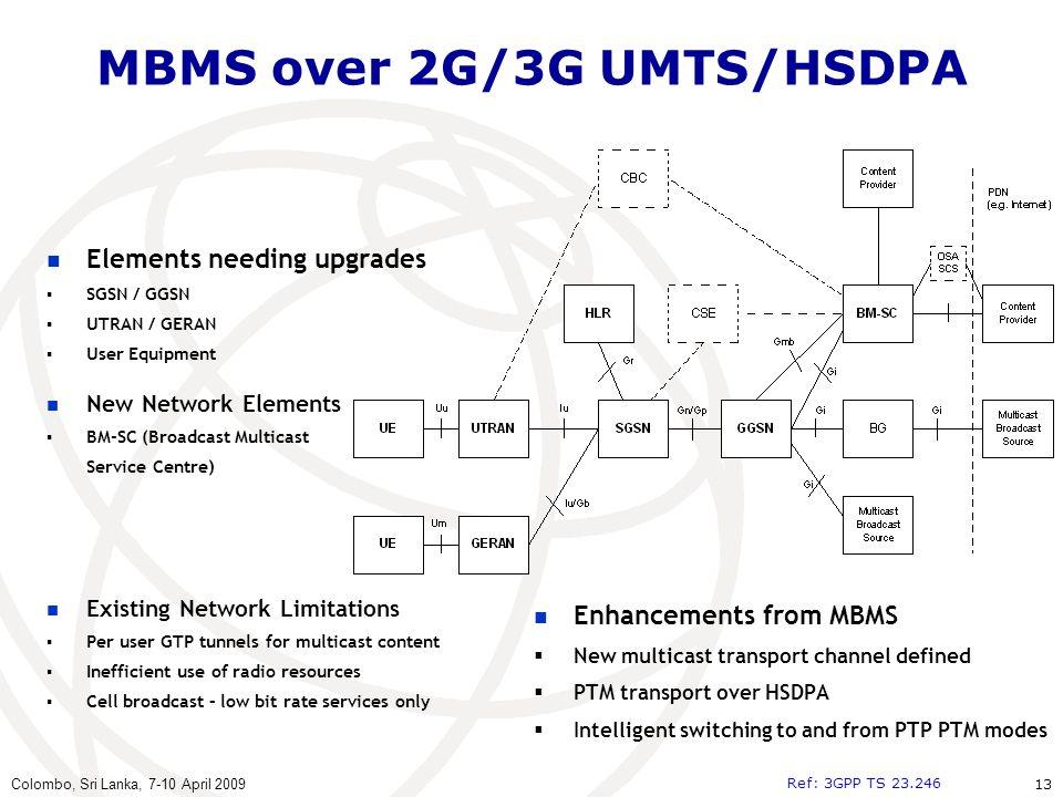 MBMS over 2G/3G UMTS/HSDPA