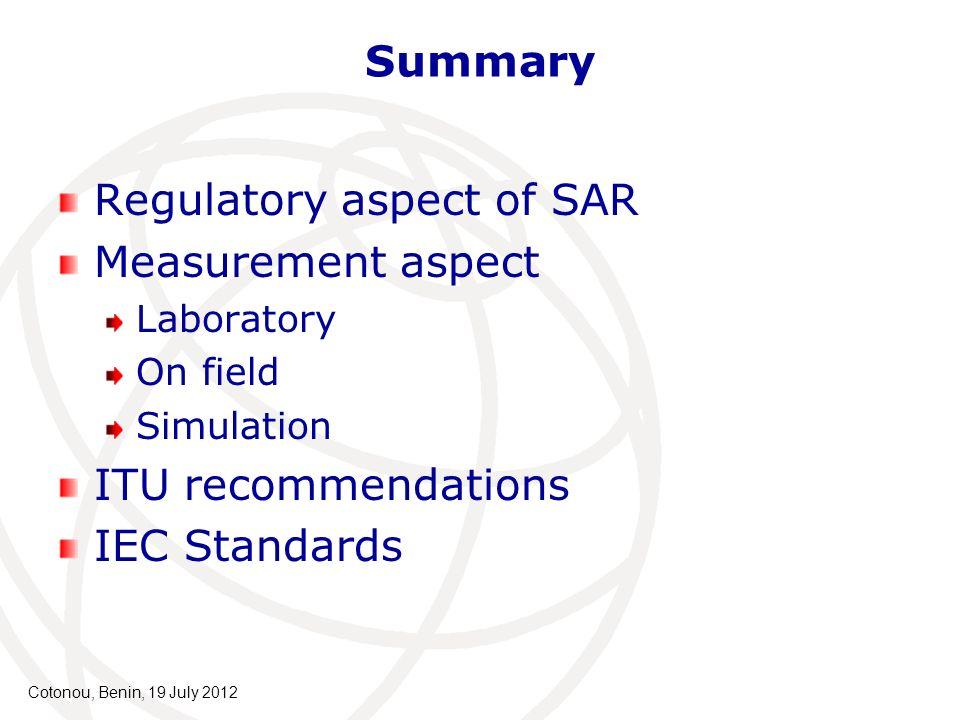 Regulatory aspect of SAR Measurement aspect