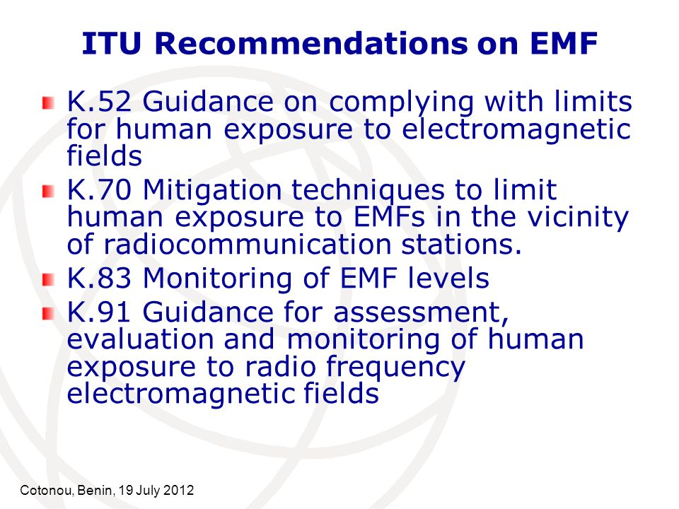 ITU Recommendations on EMF
