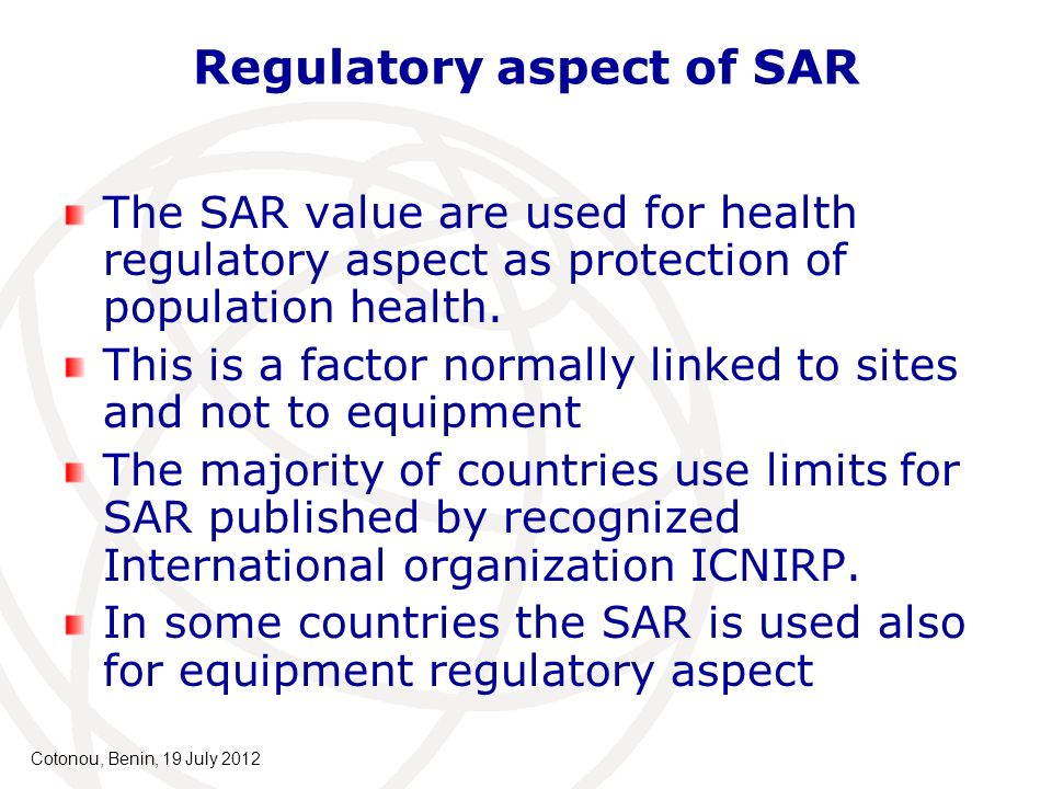 Regulatory aspect of SAR