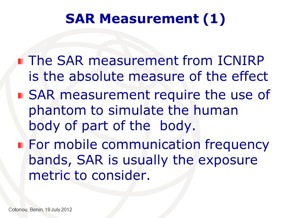 The SAR measurement from ICNIRP is the absolute measure of the effect