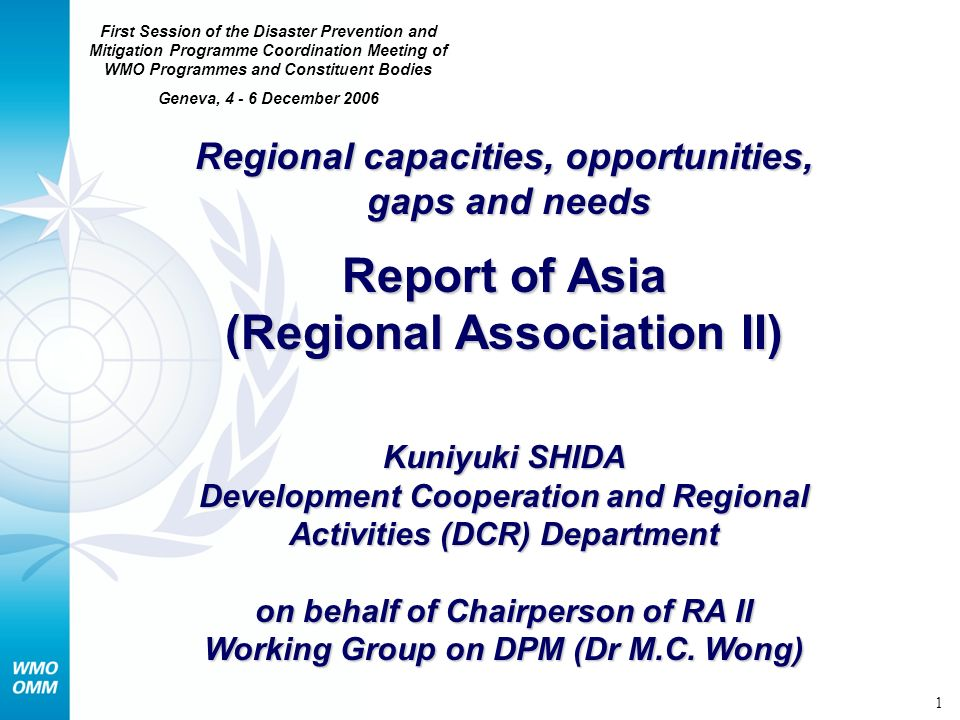 Report of Asia (Regional Association II)