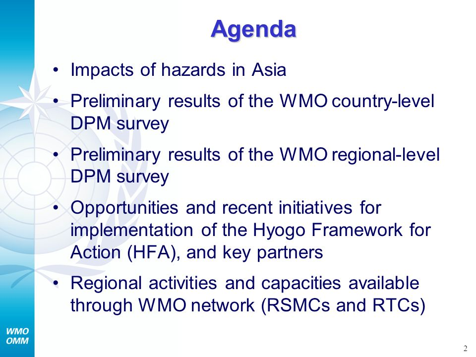 Agenda Impacts of hazards in Asia