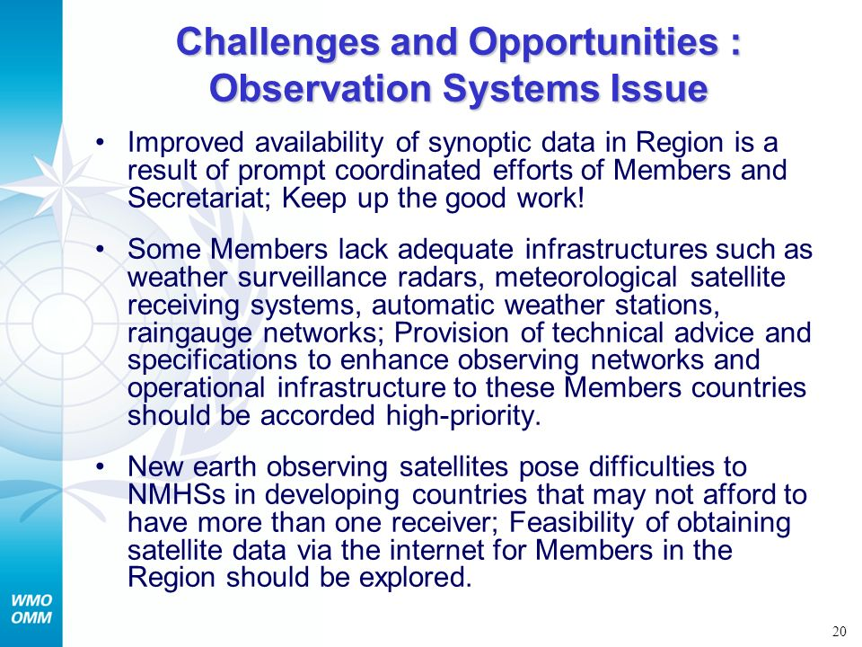 Challenges and Opportunities : Observation Systems Issue
