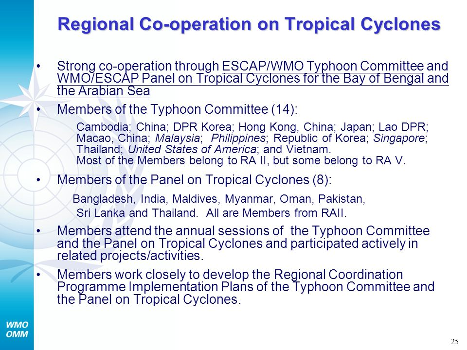 Regional Co-operation on Tropical Cyclones