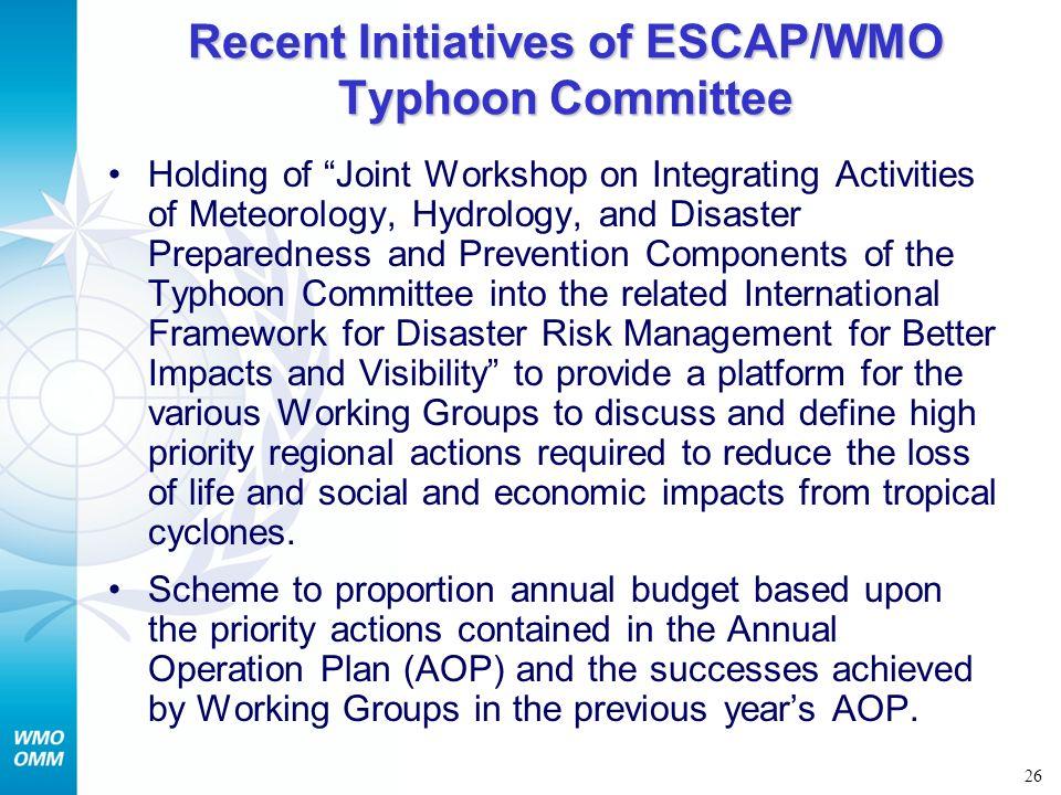 Recent Initiatives of ESCAP/WMO Typhoon Committee