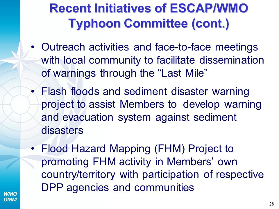 Recent Initiatives of ESCAP/WMO Typhoon Committee (cont.)