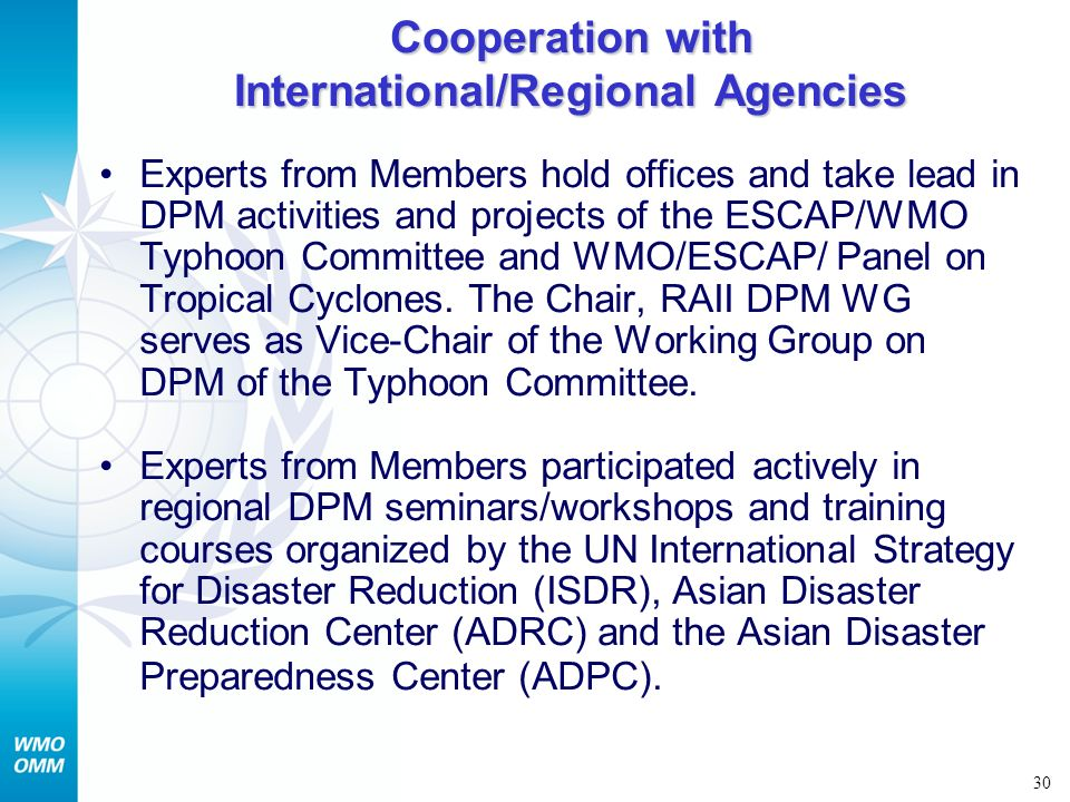 Cooperation with International/Regional Agencies