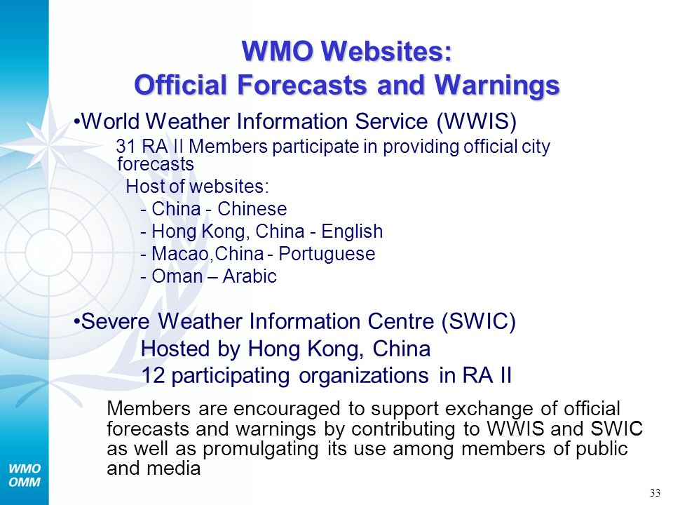 WMO Websites: Official Forecasts and Warnings