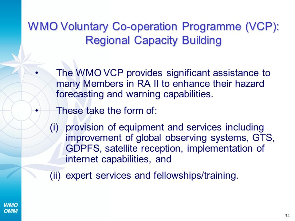 WMO Voluntary Co-operation Programme (VCP): Regional Capacity Building