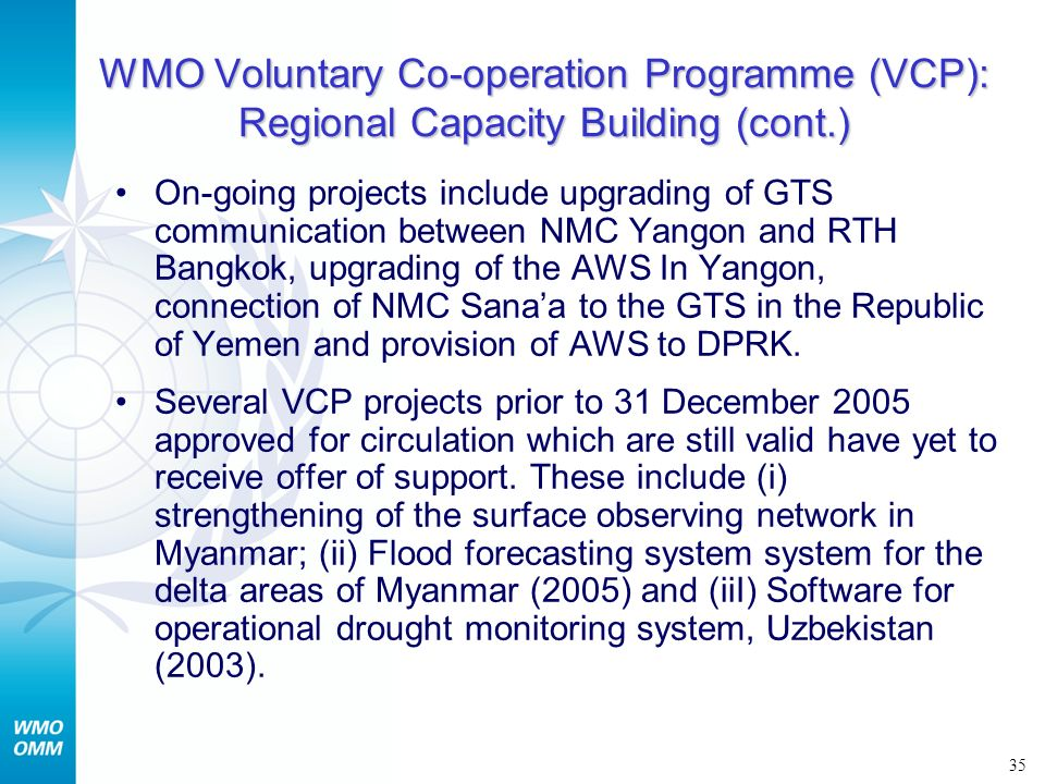 WMO Voluntary Co-operation Programme (VCP): Regional Capacity Building (cont.)
