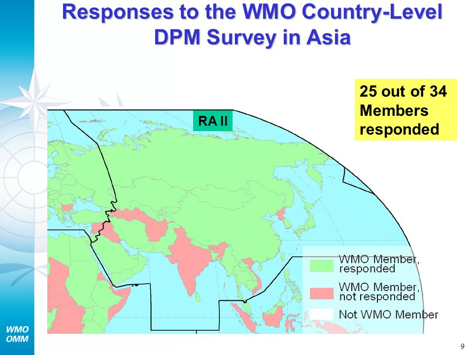 Responses to the WMO Country-Level DPM Survey in Asia