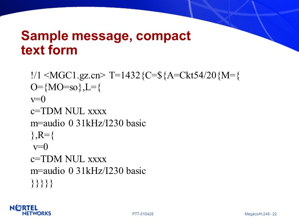 Sample message, compact text form