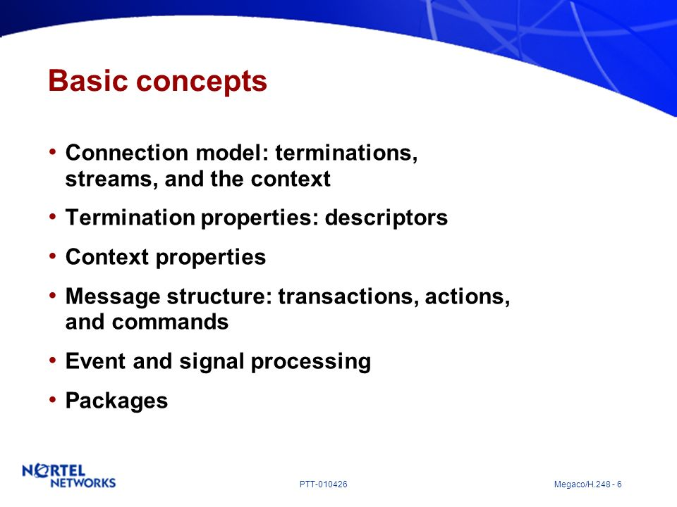 Basic concepts Connection model: terminations, streams, and the context. Termination properties: descriptors.