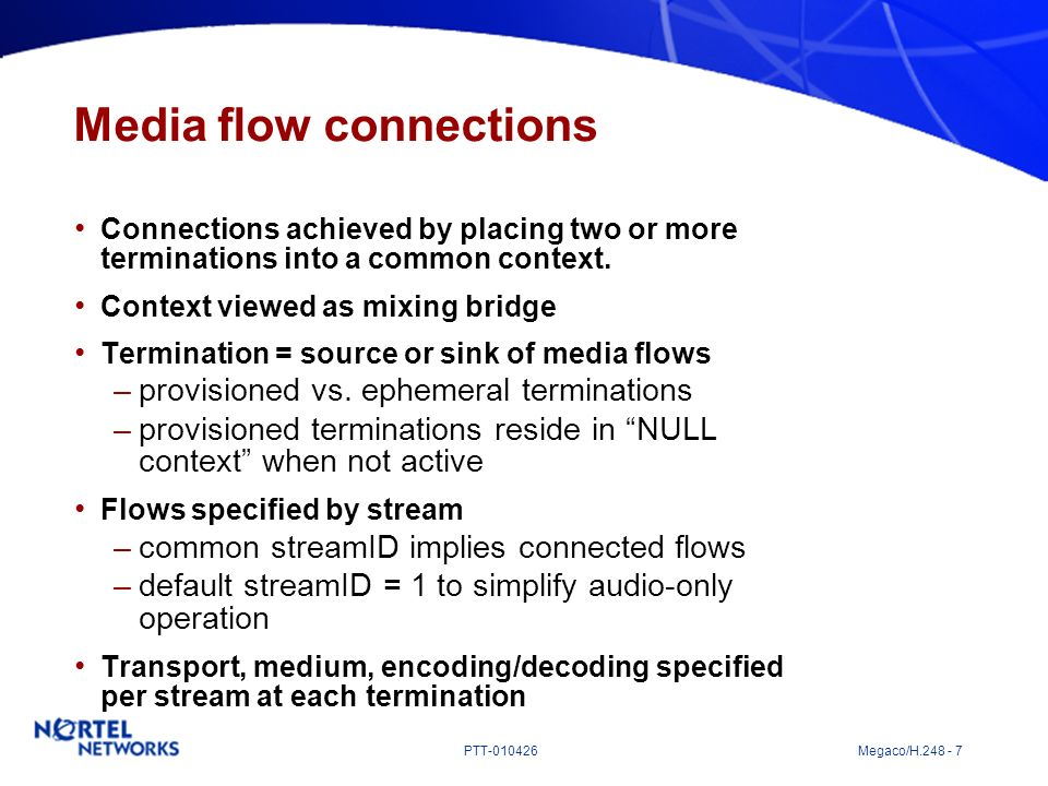 Media flow connections