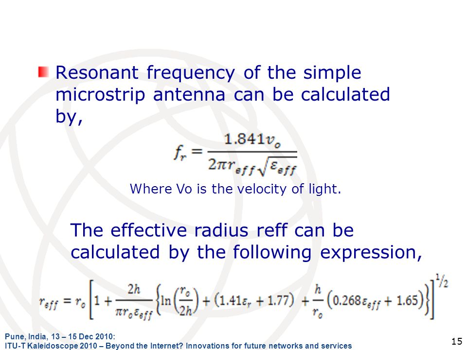 Resonant frequency of the simple microstrip antenna can be calculated by,