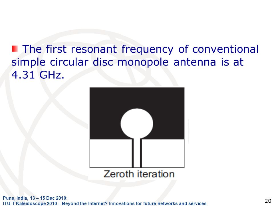The first resonant frequency of conventional simple circular disc monopole antenna is at