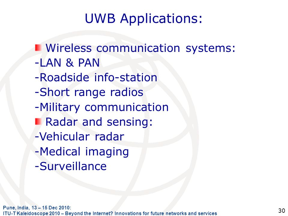 UWB Applications: Wireless communication systems: -LAN & PAN