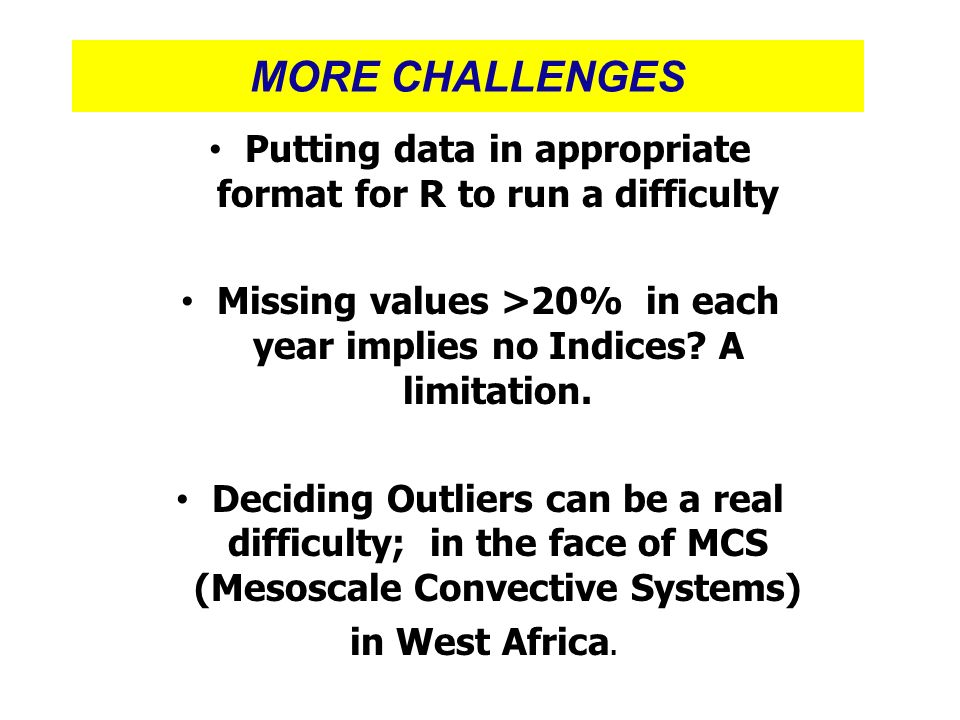 MORE CHALLENGES Putting data in appropriate format for R to run a difficulty. Missing values >20% in each year implies no Indices A limitation.