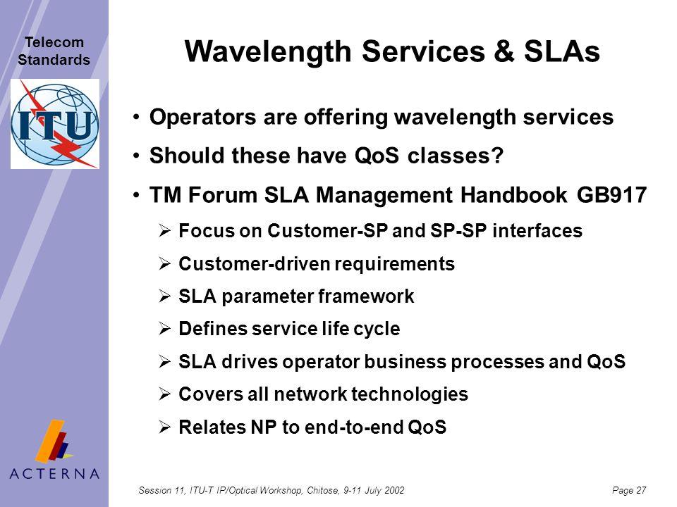 Wavelength Services & SLAs