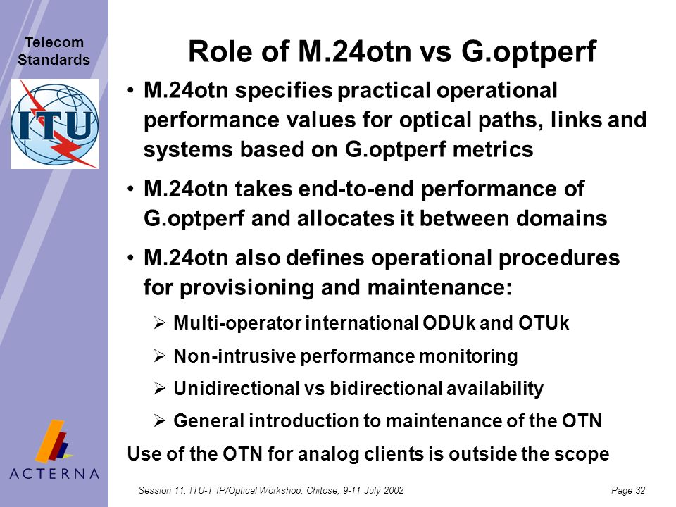 Role of M.24otn vs G.optperf