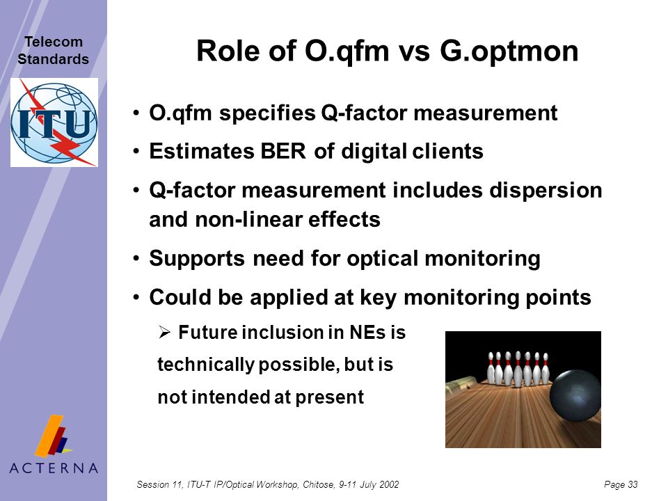 Role of O.qfm vs G.optmon O.qfm specifies Q-factor measurement