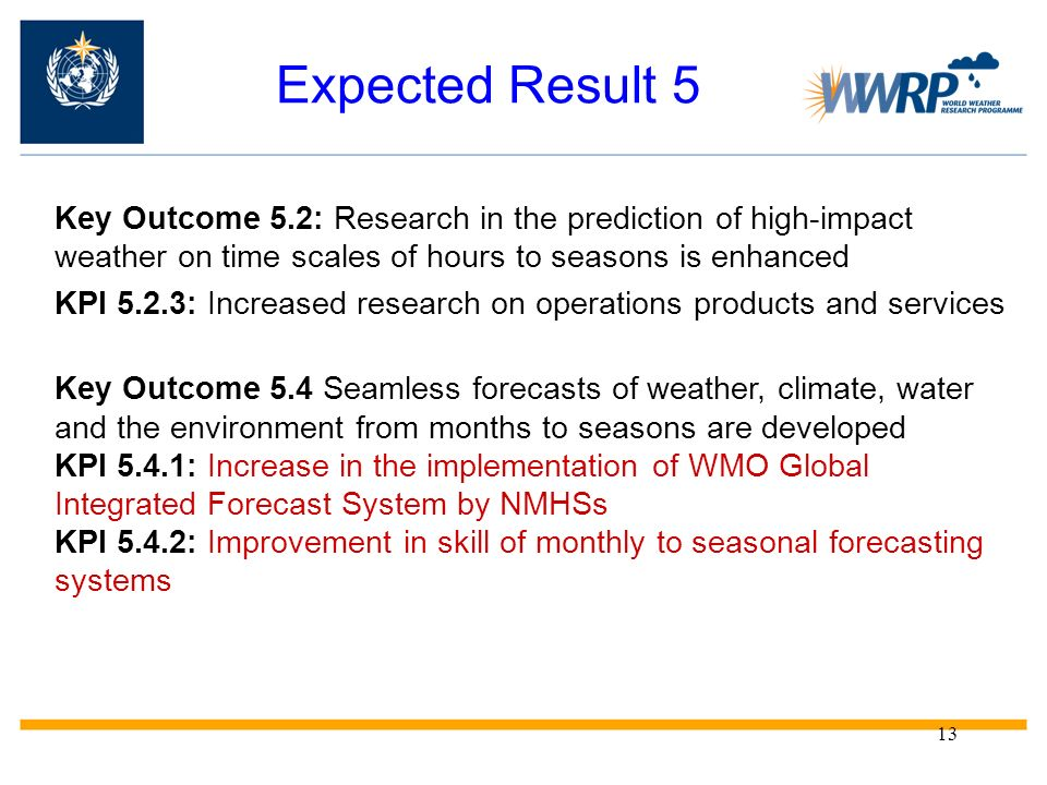 Expected Result 5 Key Outcome 5.2: Research in the prediction of high-impact weather on time scales of hours to seasons is enhanced.