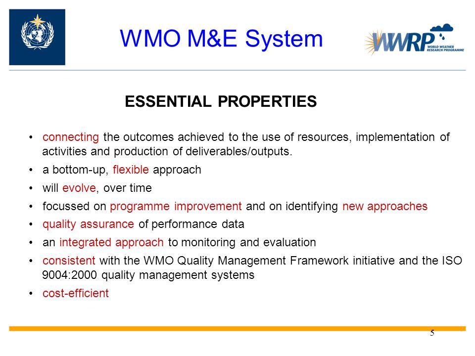 WMO M&E System ESSENTIAL PROPERTIES