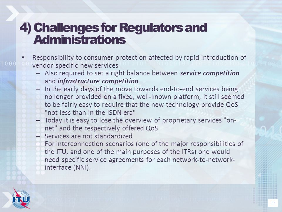 4) Challenges for Regulators and Administrations