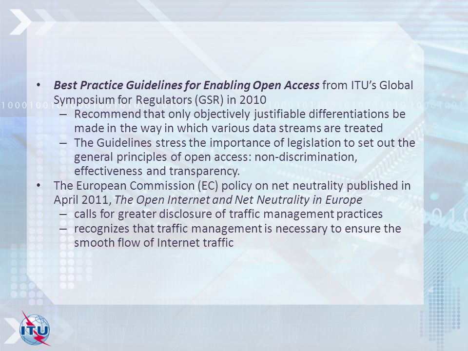 Best Practice Guidelines for Enabling Open Access from ITU's Global Symposium for Regulators (GSR) in 2010