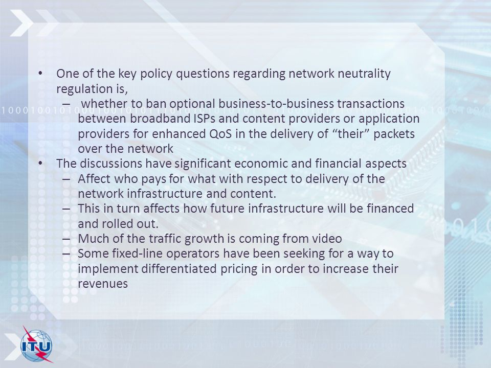 One of the key policy questions regarding network neutrality regulation is,