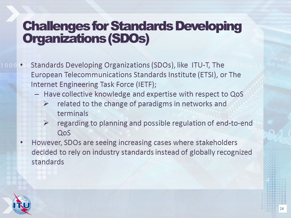 Challenges for Standards Developing Organizations (SDOs)