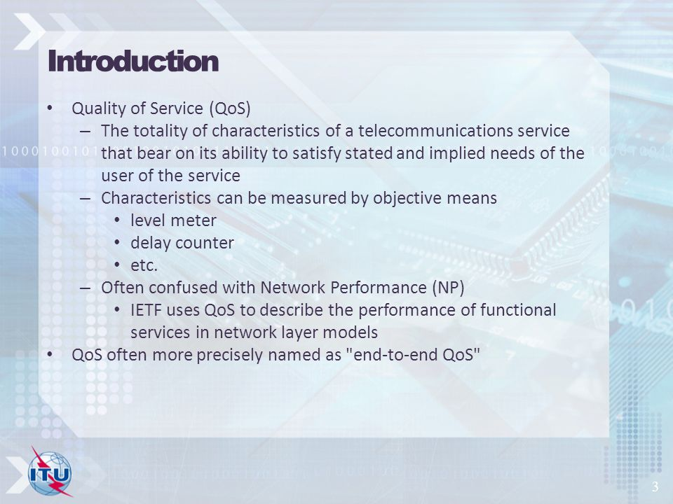 Introduction Quality of Service (QoS)