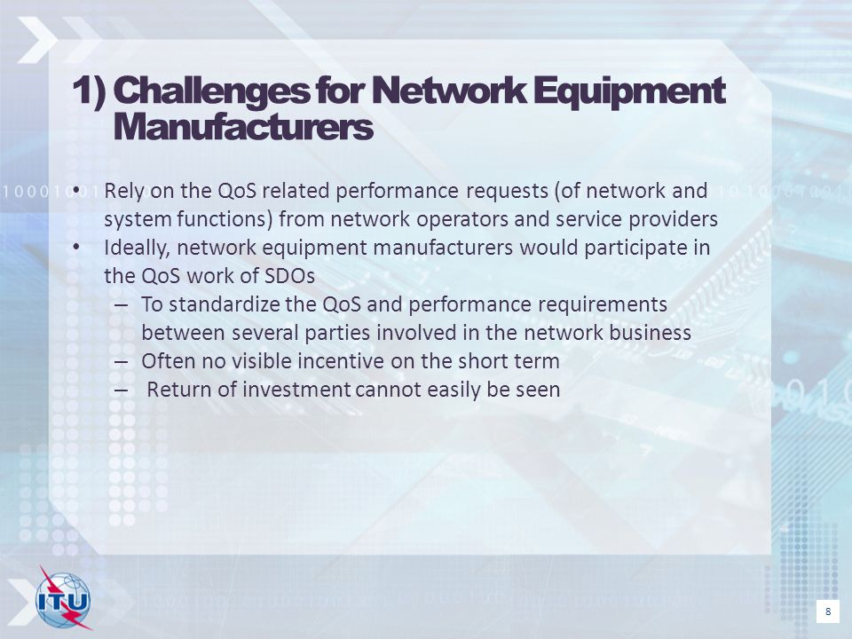 1) Challenges for Network Equipment Manufacturers
