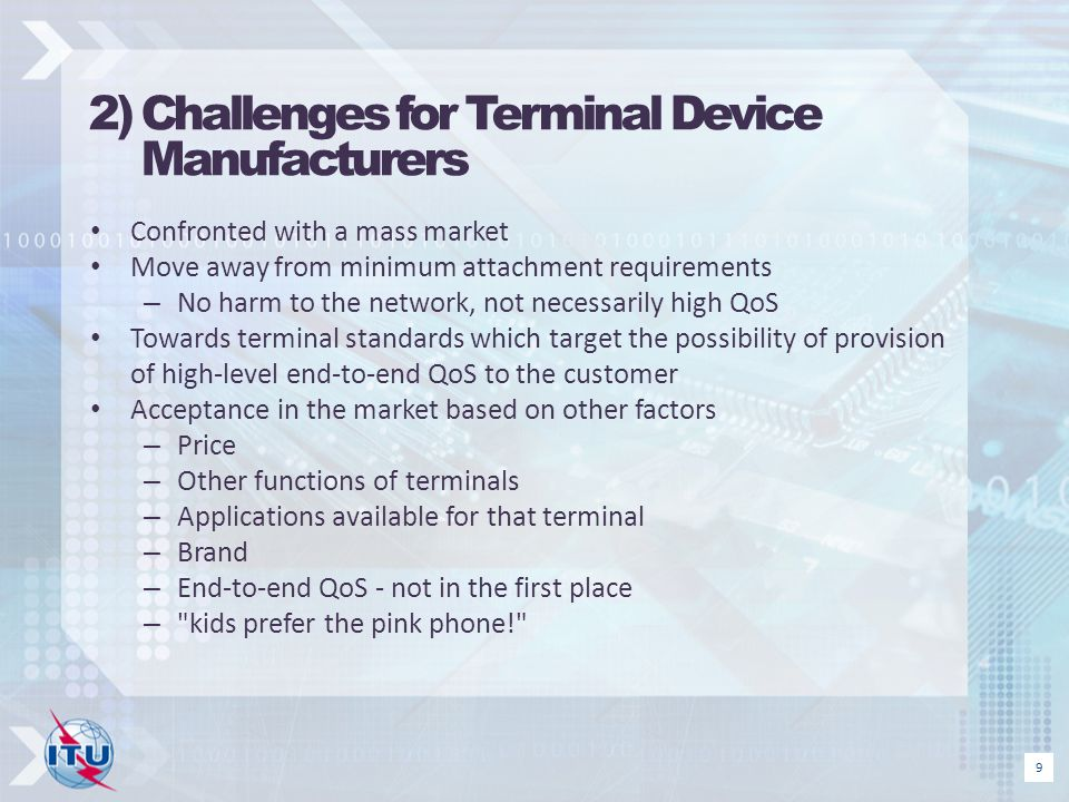 2) Challenges for Terminal Device Manufacturers