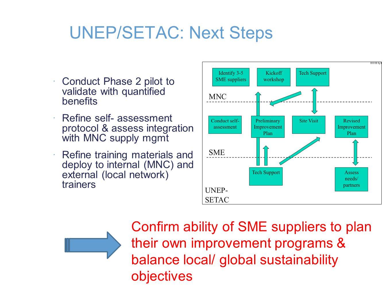 UNEP/SETAC: Next Steps