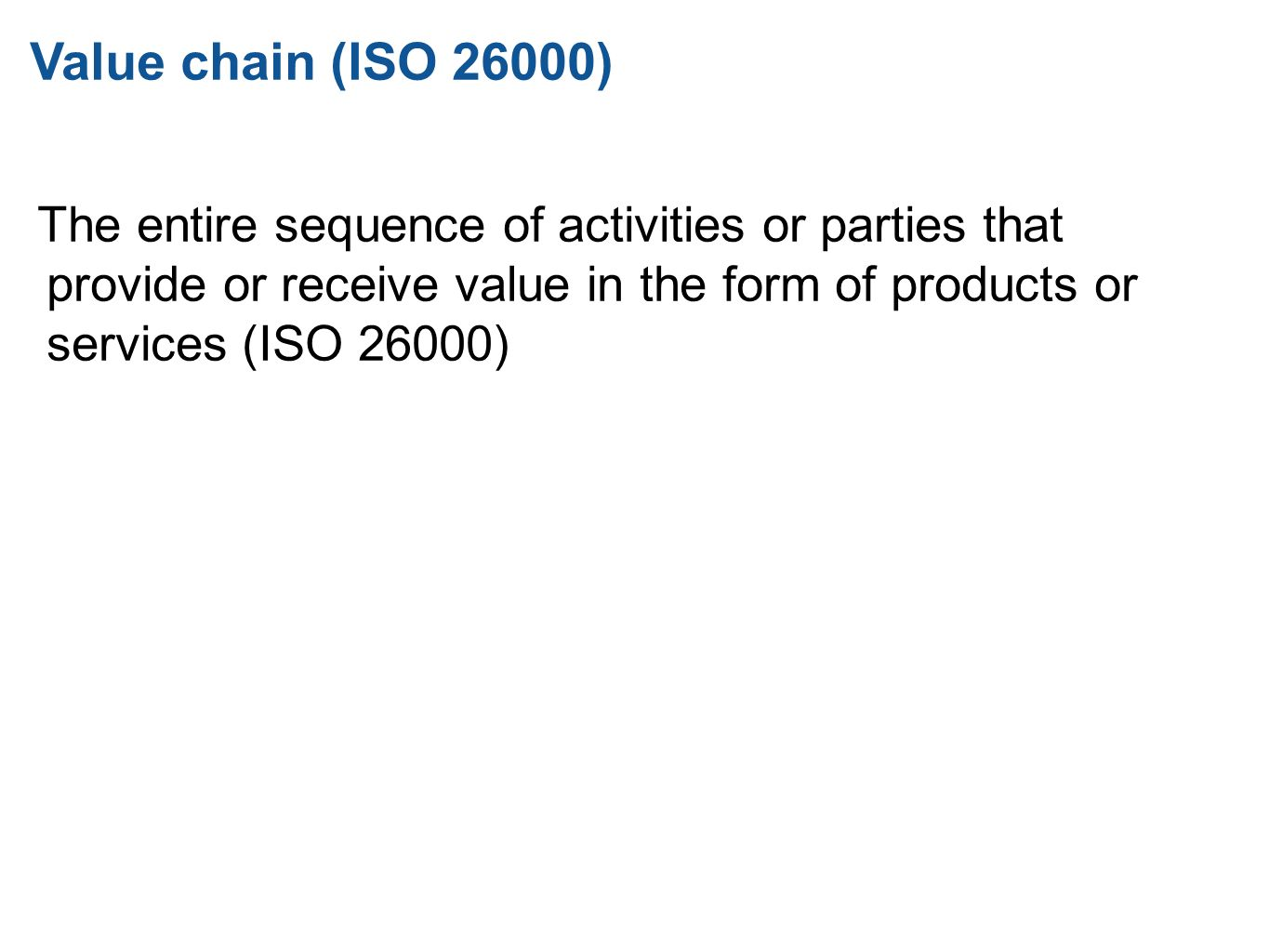 Value chain (ISO 26000) 20.