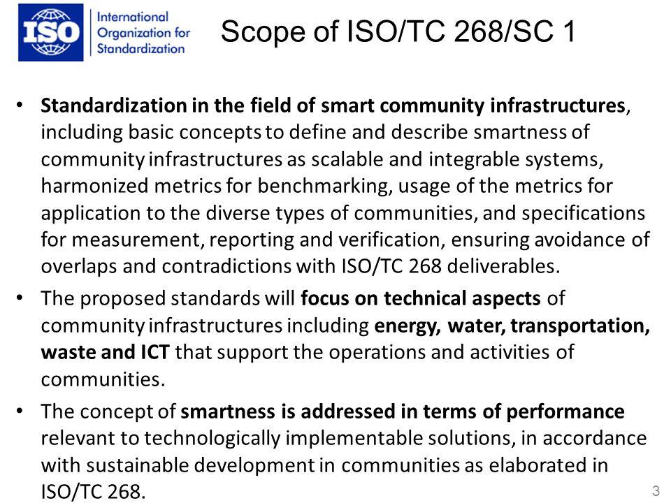 Scope of ISO/TC 268/SC 1