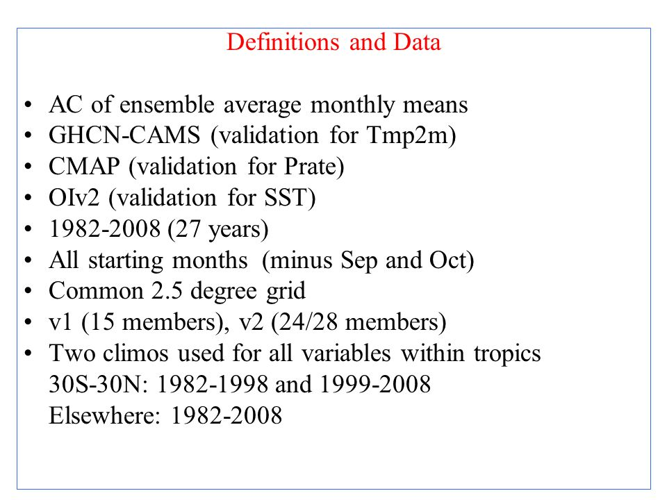 Definitions and Data AC of ensemble average monthly means. GHCN-CAMS (validation for Tmp2m) CMAP (validation for Prate)