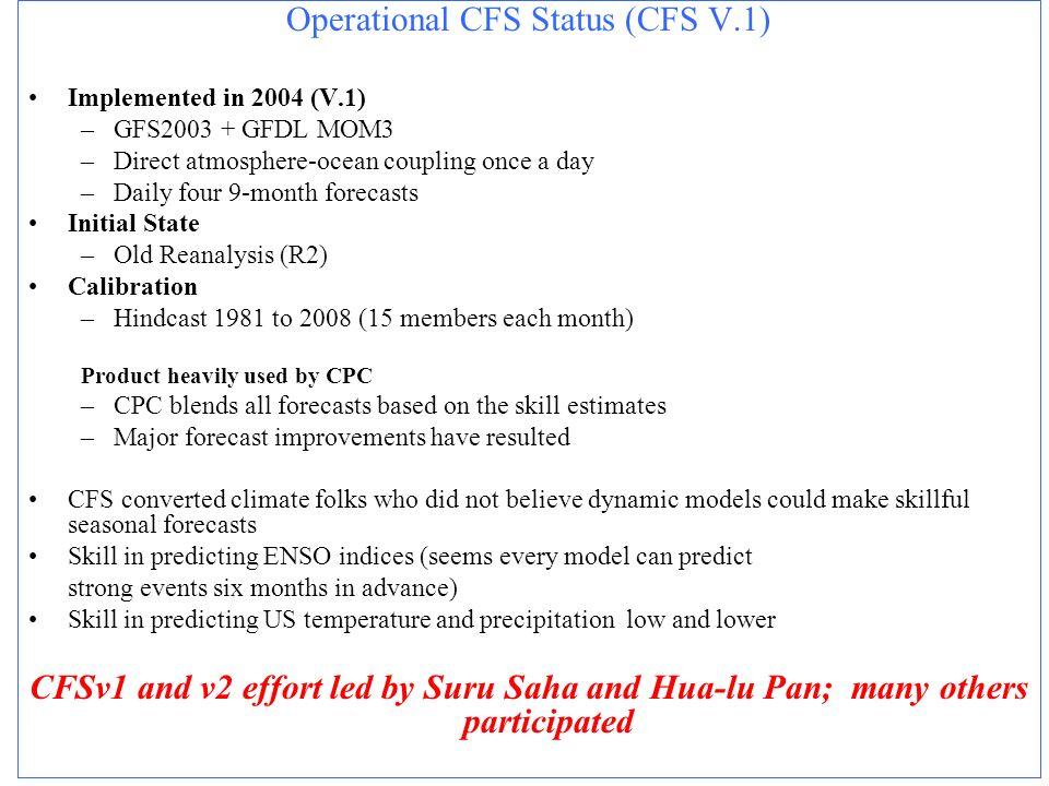 Operational CFS Status (CFS V.1)