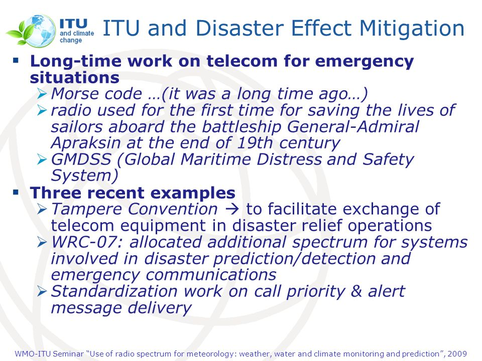 ITU and Disaster Effect Mitigation