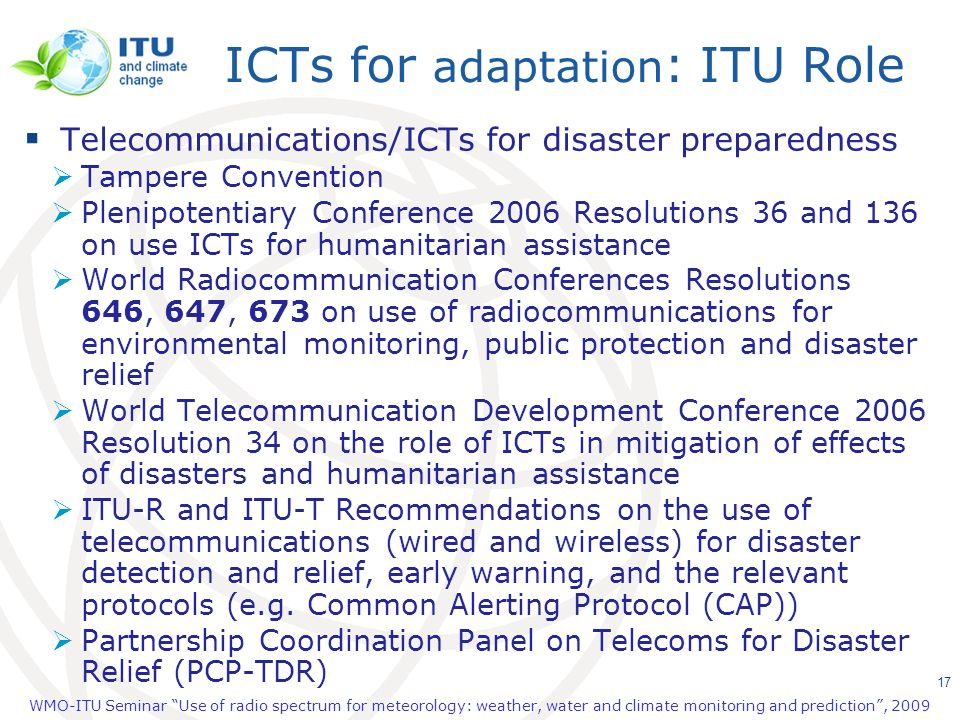 ICTs for adaptation: ITU Role