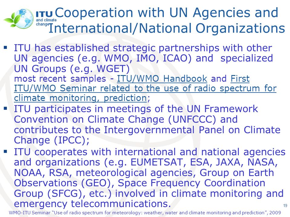Cooperation with UN Agencies and International/National Organizations