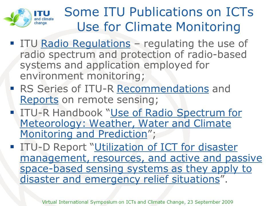 Some ITU Publications on ICTs Use for Climate Monitoring