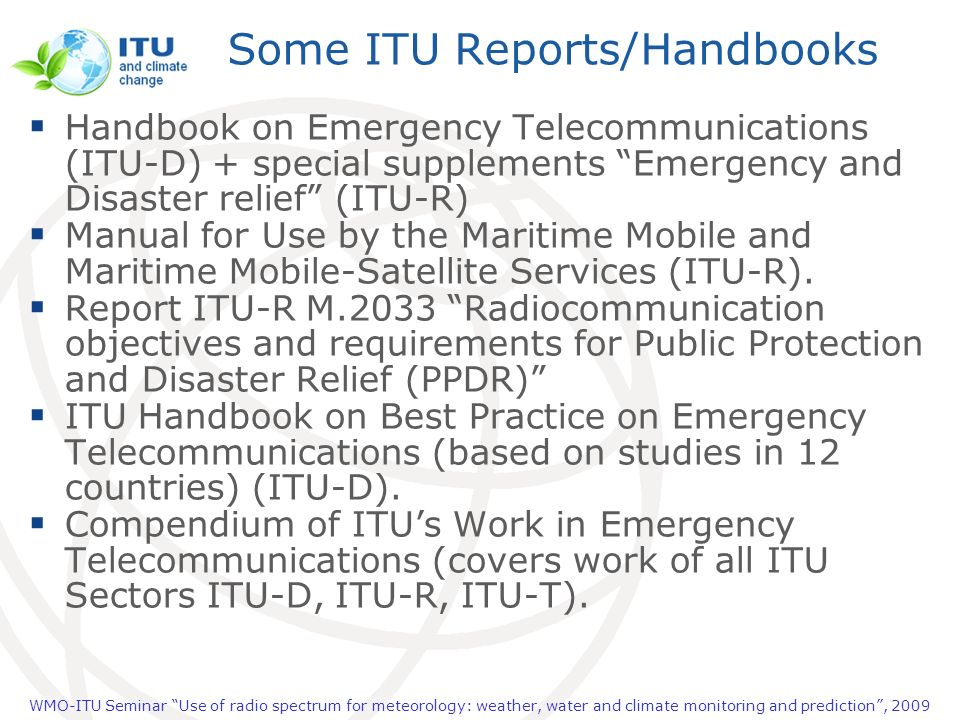 Some ITU Reports/Handbooks